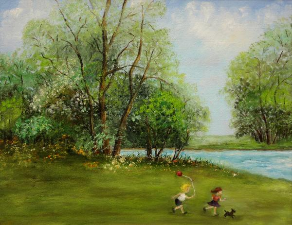 Children Running Print by Irene McDunn