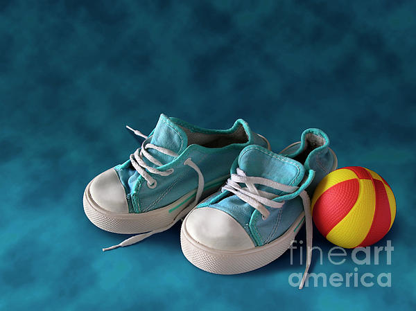Children Sneakers Print by Carlos Caetano