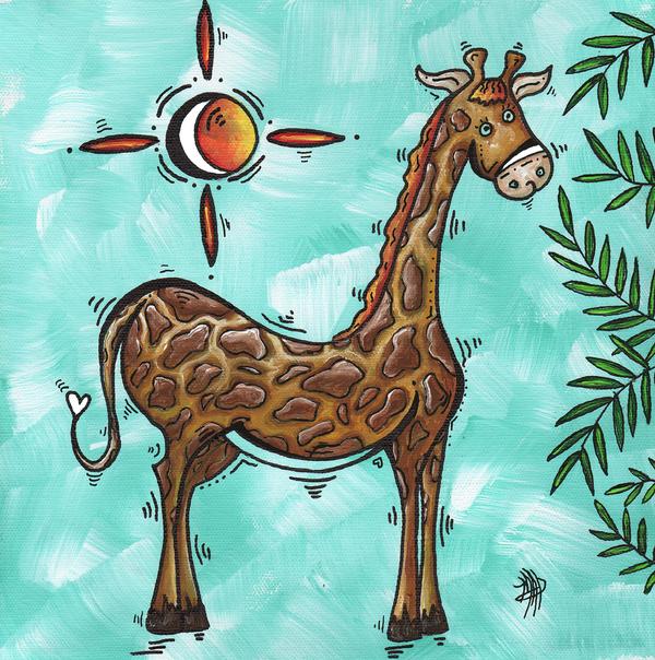 Childrens Nursery Art Original Giraffe Painting Playful By Madart Print by Megan Duncanson