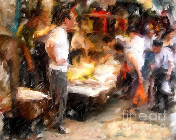 Chinatown Rain Mixed Media  - Chinatown Rain Fine Art Print