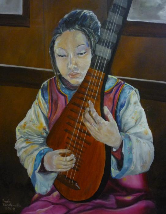 Chinese Lute Player Print by Barbi Vandewalle