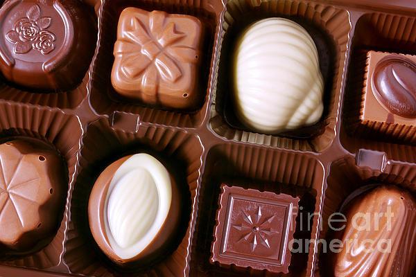 Chocolates Closeup Print by Carlos Caetano