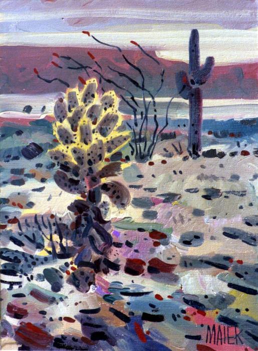 Cholla Saguargo And Ocotillo Print by Donald Maier