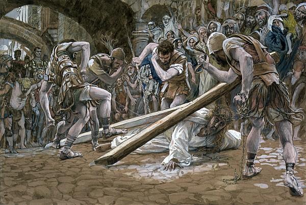Christ Falls Beneath The Cross Print by Tissot
