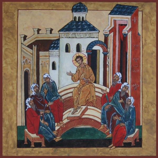 Christ Teaching In The Temple Print by Phillip Schwartz