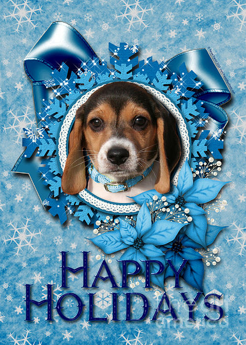 Christmas - Blue Snowflakes Beagle Puppy Print by Renae Laughner