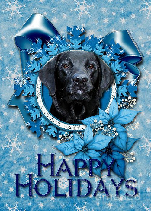 Christmas - Blue Snowflakes Labrador Print by Renae Laughner