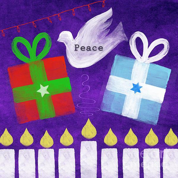 Christmas And Hanukkah Peace Print by Linda Woods
