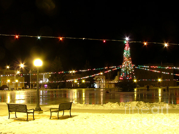 Christmas At The Anaconda Commons Print by Katie LaSalle-Lowery