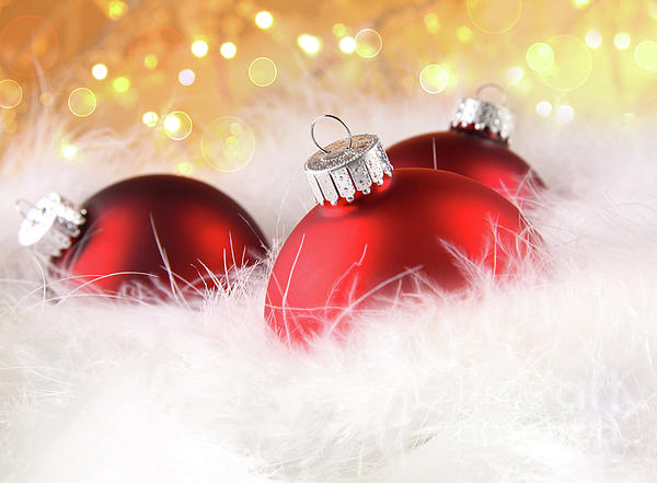Christmas Balls With Abstract Holiday Background Print by Sandra Cunningham