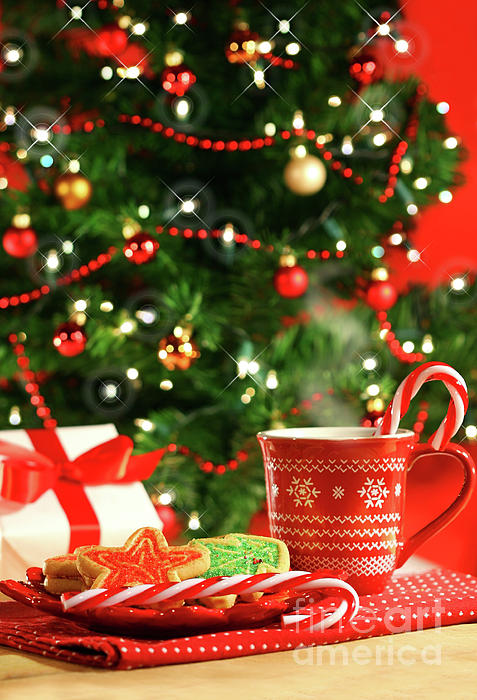 Christmas Cookies  Near The  Tree Print by Sandra Cunningham