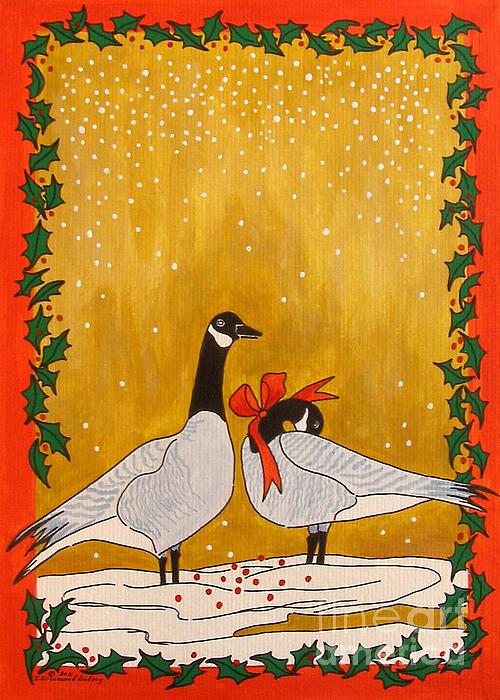 Christmas Geese Print by Susan Greenwood Lindsay