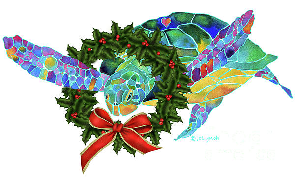 Christmas Holiday Sea Turtle Print by Jo Lynch