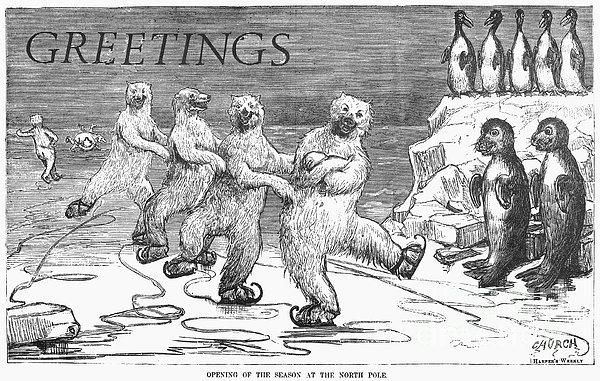 Christmas: Polar Bears Print by Granger