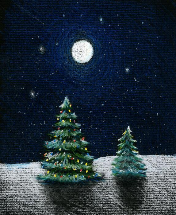 Christmas Trees In The Moonlight Print by Nancy Mueller