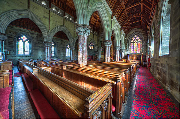 Church Benches Print by Adrian Evans