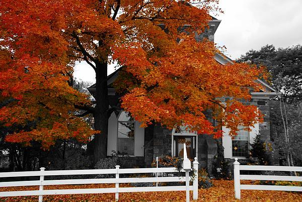 Church In Autumn Print by Andrea Kollo