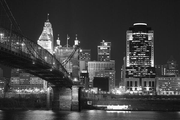 Cincinnati At Night Print by Russell Todd