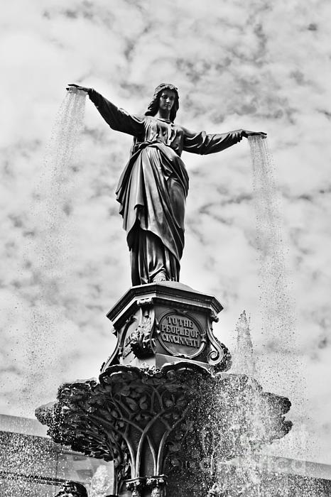Cincinnati Fountain Tyler Davidson Genius Of Water Statue Print by Paul Velgos