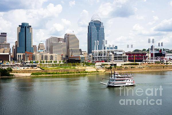 Cincinnati Skyline With Riverboat Photo Print by Paul Velgos