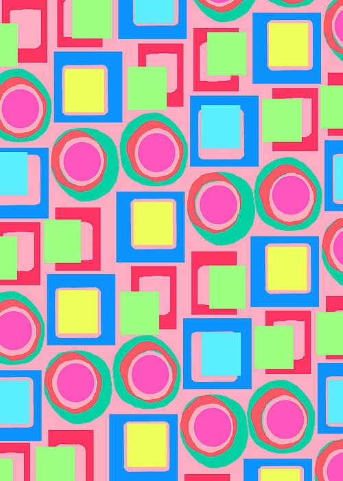Circles And Squares Print by Louisa Knight