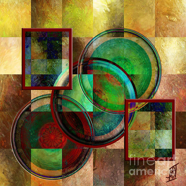 Circles And Squares Triptych Centre Print by Rosy Hall