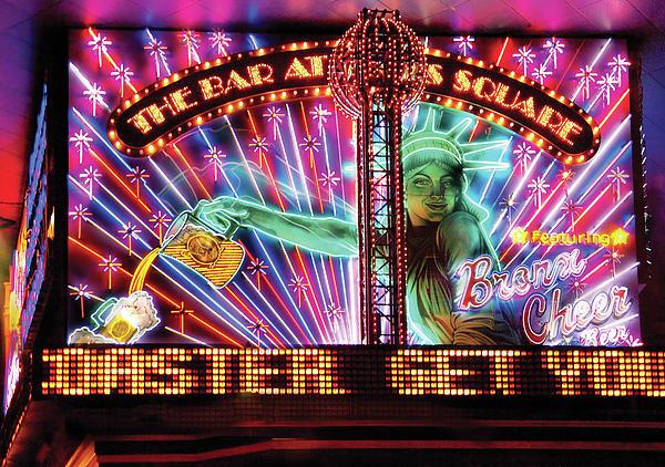 City - Vegas - Ny - The Bar At Times Square Print by Mike Savad