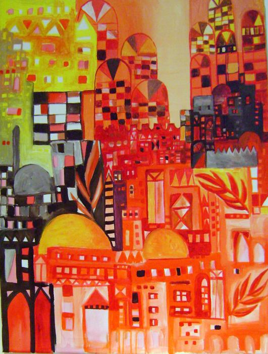 City In Red Painting