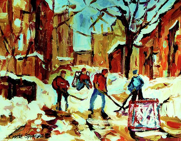City Of Montreal Hockey Our National Pastime Print by Carole Spandau