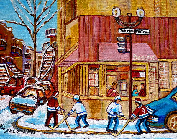 City Of Montreal St. Urbain And Mont Royal Beautys With Hockey Painting  - City Of Montreal St. Urbain And Mont Royal Beautys With Hockey Fine Art Print