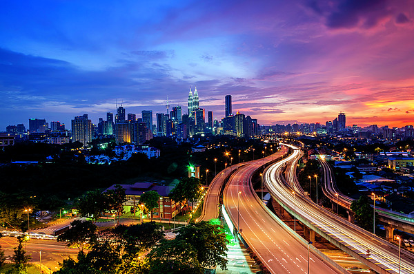 Cityscape Of Kuala Lumpur Print by by Arief Rasa