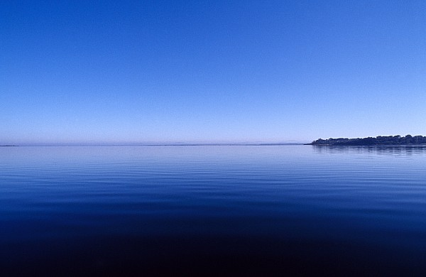 Clear Blue Sky Reflected In A Still Print by Jason Edwards