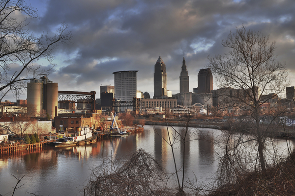 Cleveland Skyline From The River - Morning Light Print by At Lands End Photography