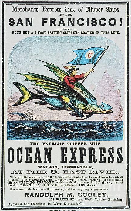 Clipper Ship Card, C1850 Print by Granger
