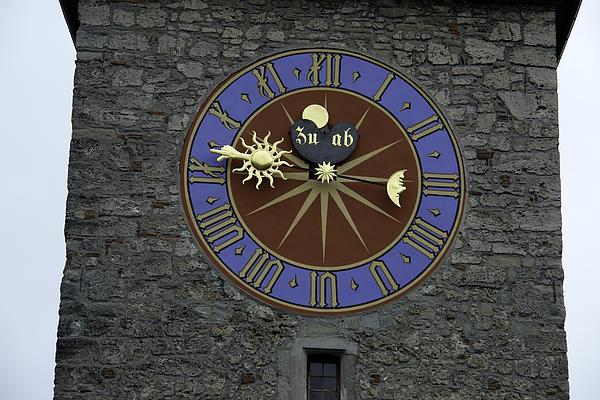 Clocktower In Lucerne On A Stone Tower Print by Ashish Agarwal