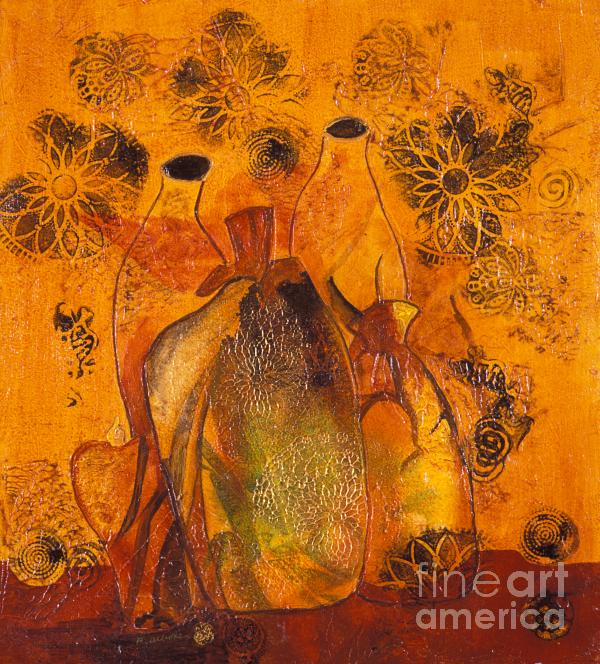 Close Friends An Abstract Still Life In Acrylic On Canvas Painting  - Close Friends An Abstract Still Life In Acrylic On Canvas Fine Art Print