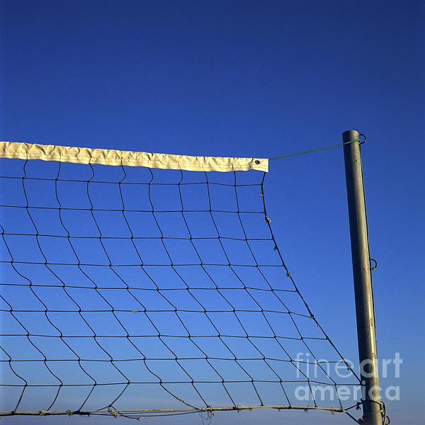 Close-up Of A Volleyball Net Abandoned. Print by Bernard Jaubert