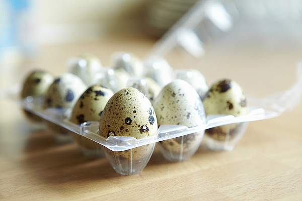 Close Up Of Carton Of Quail Eggs Print by Debby Lewis-Harrison