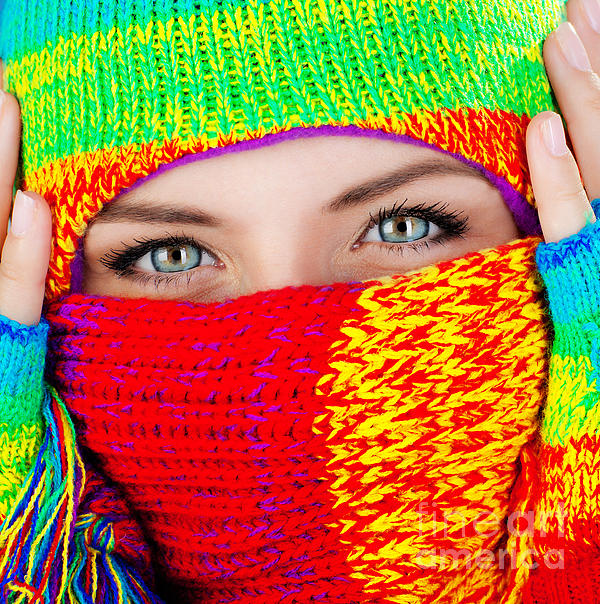 Close Up On Covered Face With Blue Eyes Print by Anna Omelchenko