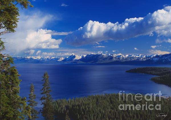 Clouds Over Lake Tahoe Print by Vance Fox