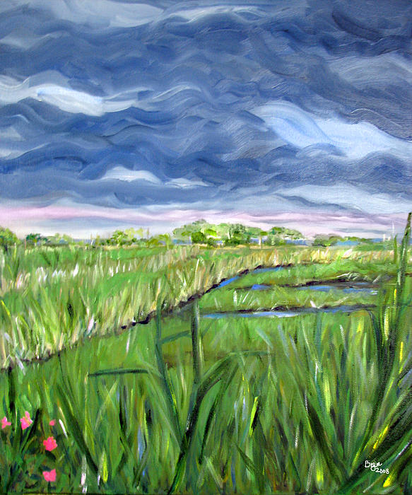 Cloudy Marsh Print by Clara Sue Beym