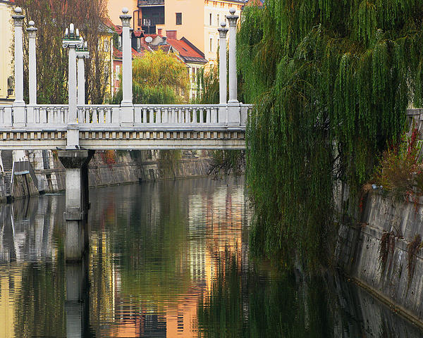 Cobblers Bridge And Morning Reflections In Ljubljana Print by Greg Matchick