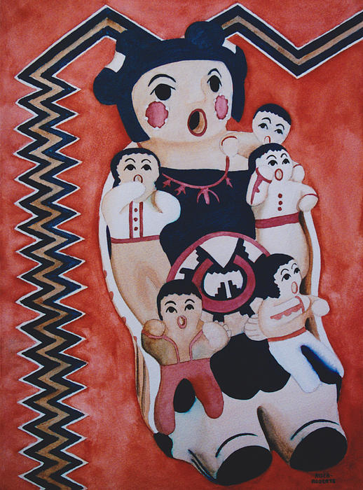 Cochiti Storyteller Print by Eve Riser Roberts