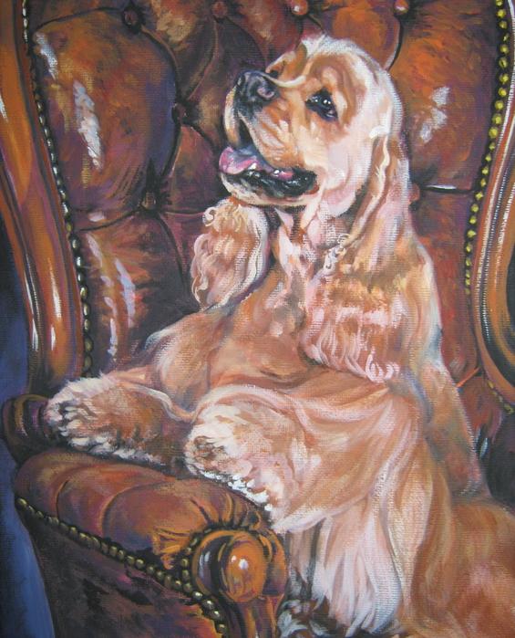 Cocker Spaniel On Chair Print by L A Shepard