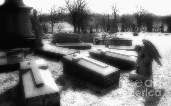 Coffins And Angel Print by Jeff Holbrook