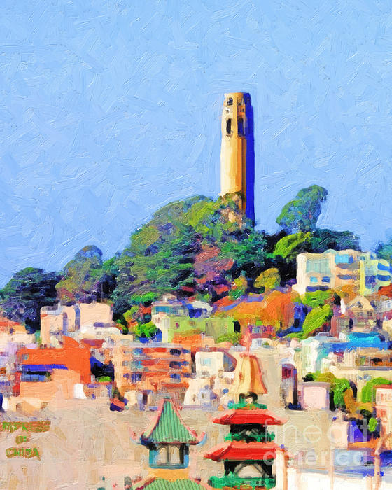 Coit Tower And The Empress Of China - Photo Artwork Print by Wingsdomain Art and Photography