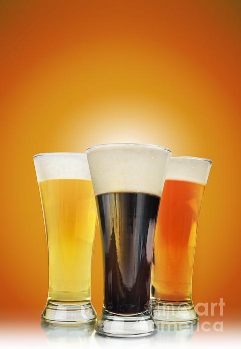 Cold Alcohol Beer Drinks On Gold Print by Angela Waye