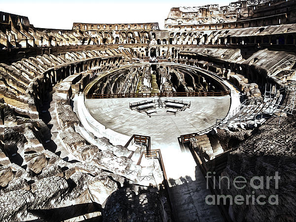 Coliseum  - Bleached Version Print by Gregory Dyer