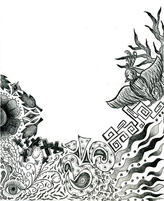 Collage Of Symbols Print by Tessa Hunt-Woodland