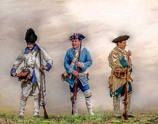 Colonial French Soldier Review Print by Randy Steele